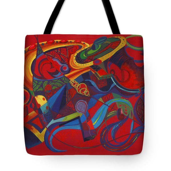 Tote Bag featuring the painting Surreal Medieval Weaponry by Shawna Rowe