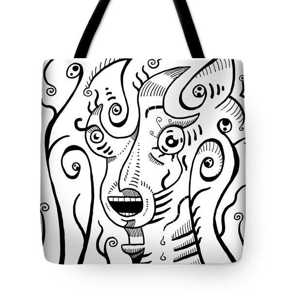 Surrealism Scream Black And White Tote Bag