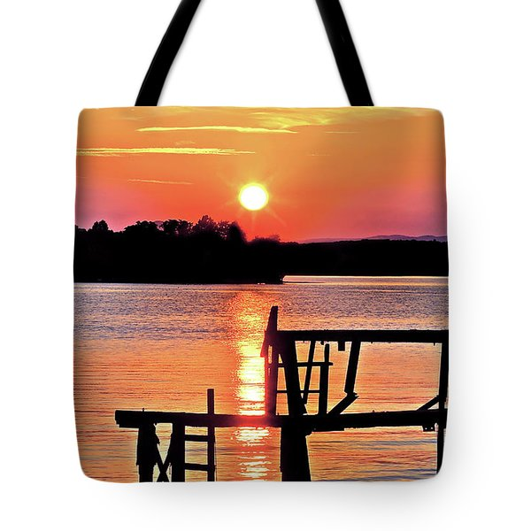 Surreal Smith Mountain Lake Dock Sunset Tote Bag by The American Shutterbug Society