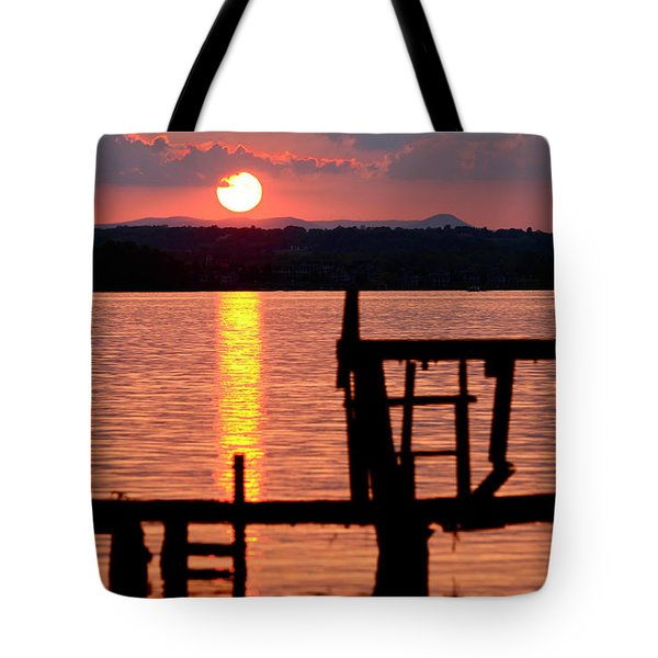 Surreal Smith Mountain Lake Dockside Sunset 2 Tote Bag by The American Shutterbug Society