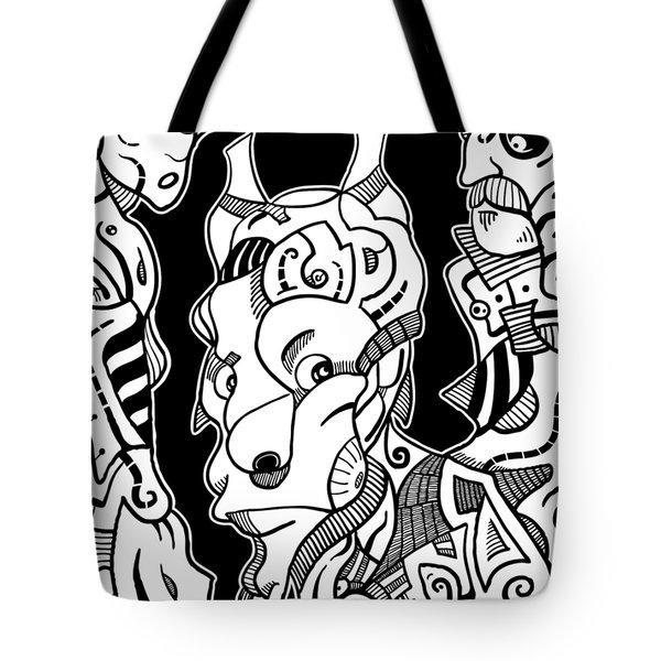 Surrealism Pagan Black And White Tote Bag