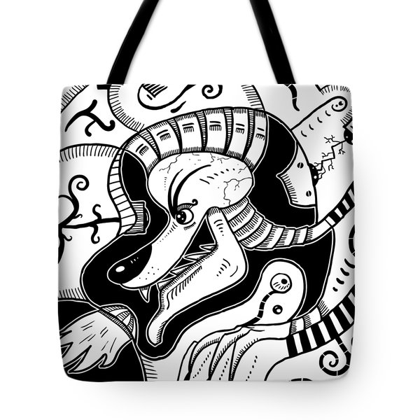 Surrealism Wolf Black And White Tote Bag
