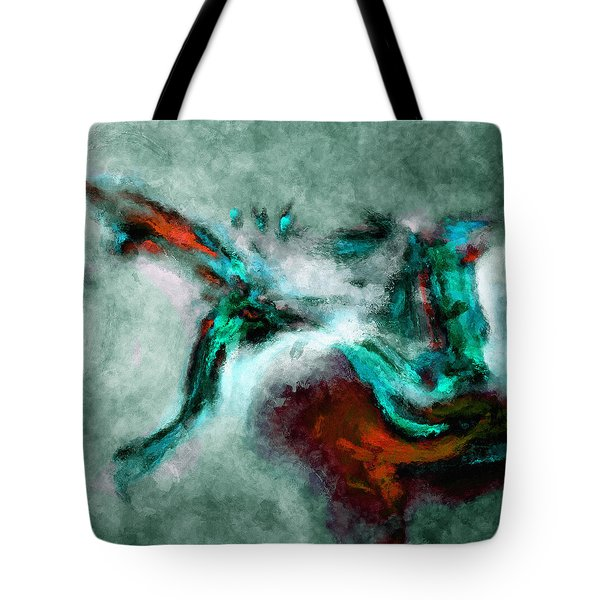 Tote Bag featuring the painting Surrealist And Abstract Painting In Orange And Turquoise Color by Ayse Deniz