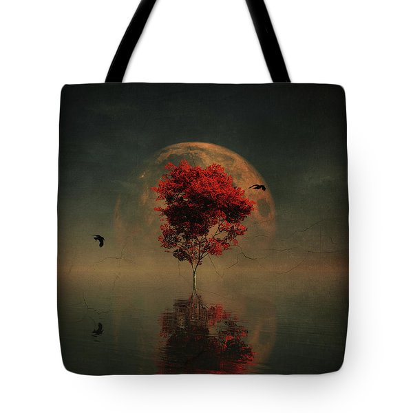 Surrealistic Landscape With Red Mapple And Full Moon Tote Bag