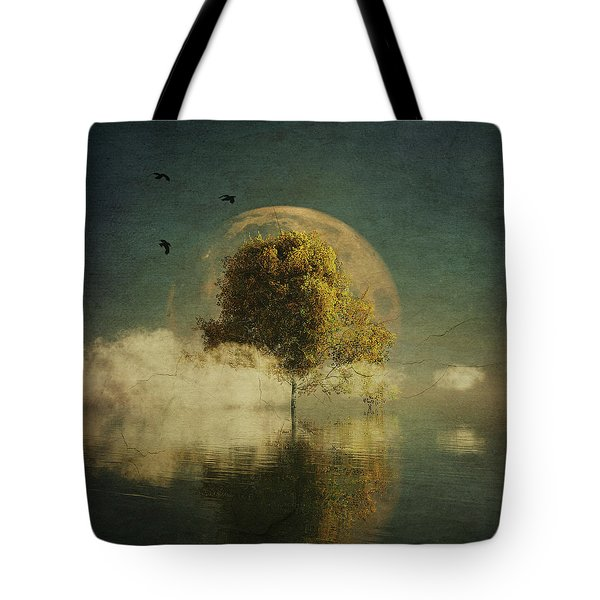 Surrealistic Landscape With Yellow Birch And Full Moon Tote Bag