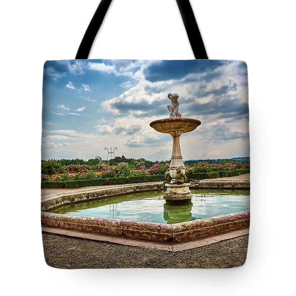The Monkeys Fountain At The Gardens Of The Knight In Florence, Italy Tote Bag