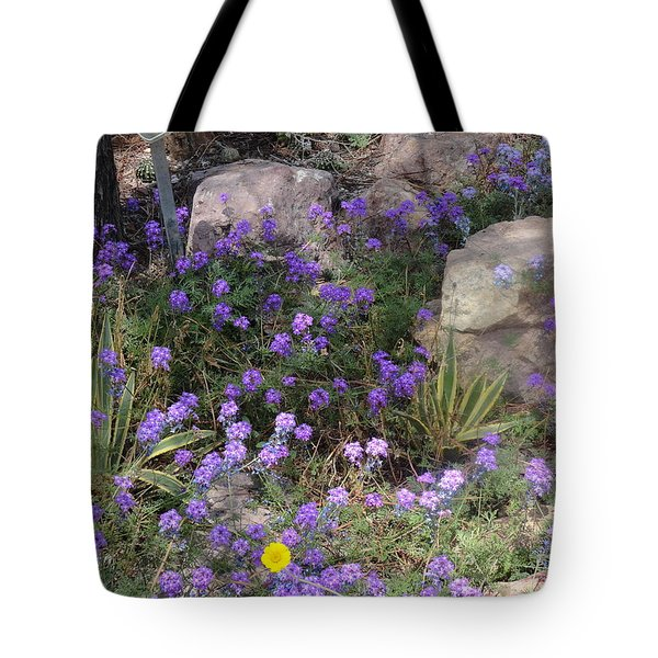 Surrounded By Purple Flowers Tote Bag
