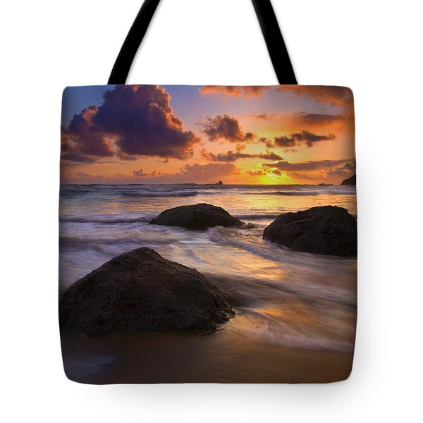 Surrounded By The Sea Tote Bag by Mike  Dawson