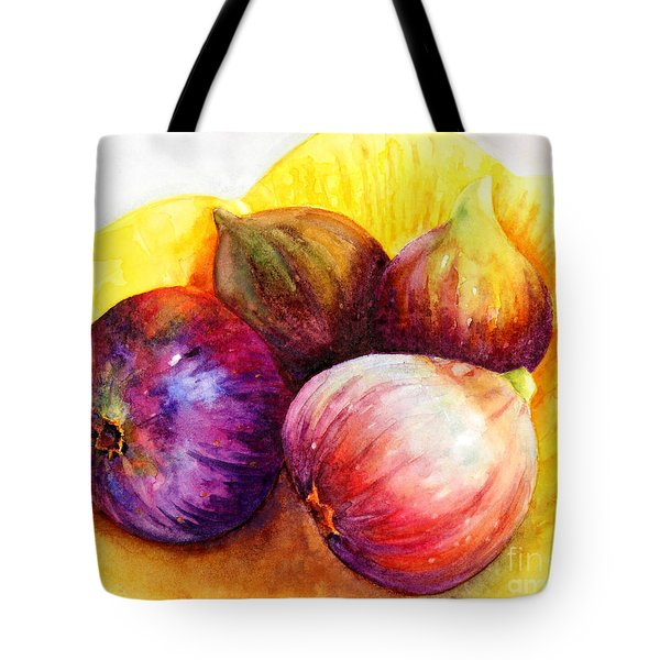 Tote Bag featuring the painting Susan's Figs by Bonnie Rinier