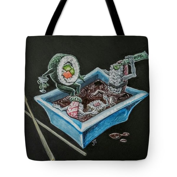 Tote Bag featuring the painting Sushi Party by Jennifer Hotai
