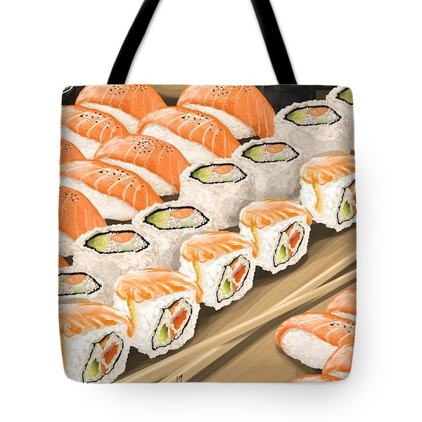 Tote Bag featuring the painting Sushi by Veronica Minozzi