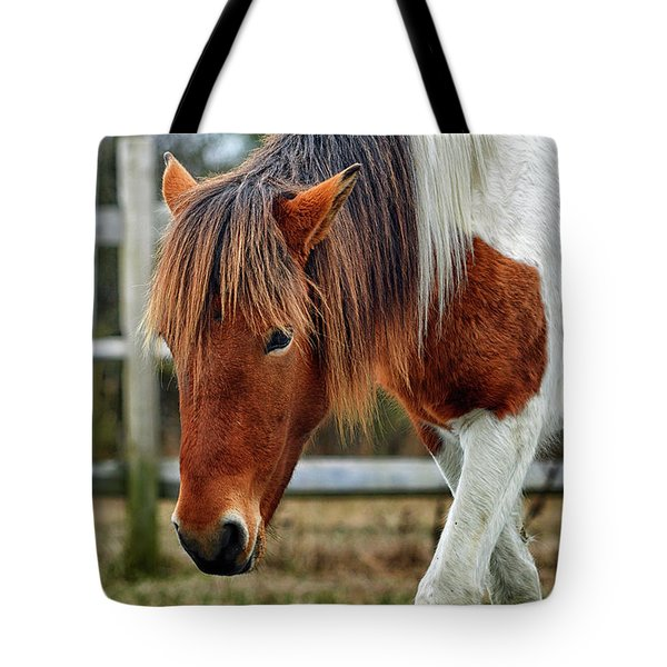 Tote Bag featuring the photograph Susi Sole N2bhs-m Says Don't Fence Me In by Assateague Pony Photography