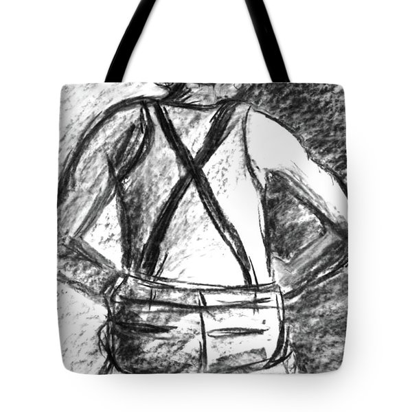 Tote Bag featuring the painting Suspenders by Cathie Richardson