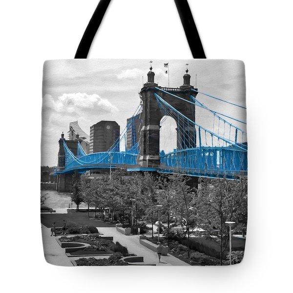 Tote Bag featuring the photograph Suspension Bridge At Cincinnati Selective Color by Mel Steinhauer