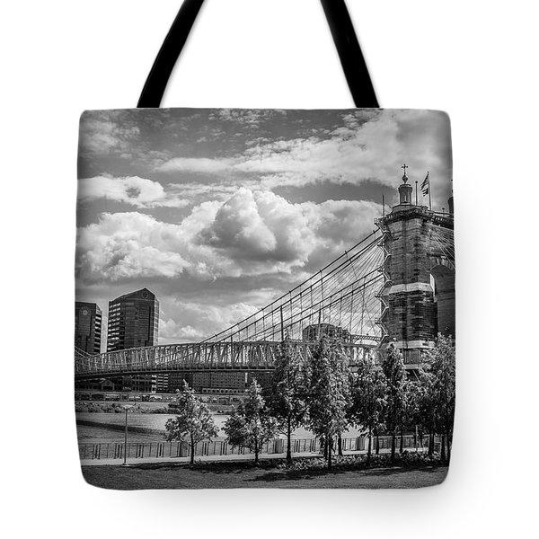 Suspension Bridge Black And White Tote Bag by Scott Meyer