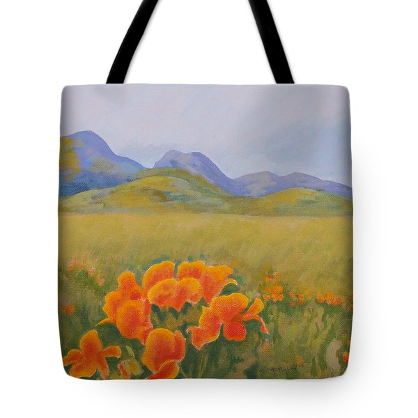 Sutter Buttes With California Poppies Tote Bag