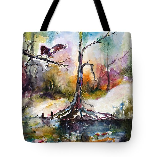 Tote Bag featuring the painting Suwanee River Black Water Eagle Landing by Ginette Callaway