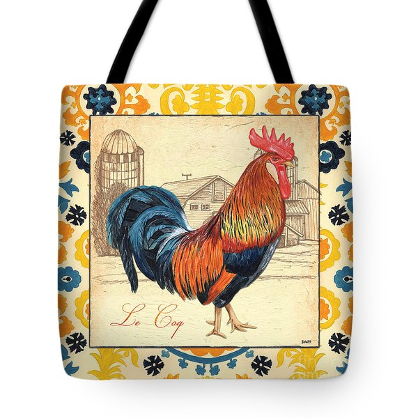 Suzani Rooster 2 Tote Bag by Debbie DeWitt