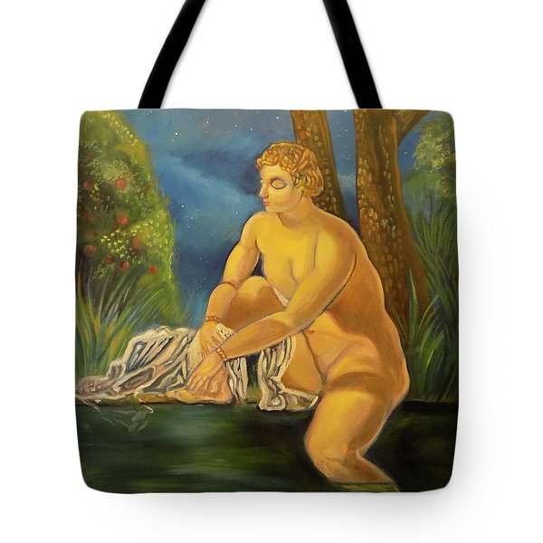 Tote Bag featuring the painting Suzanna Bathing In The Moonlight. by John Keaton