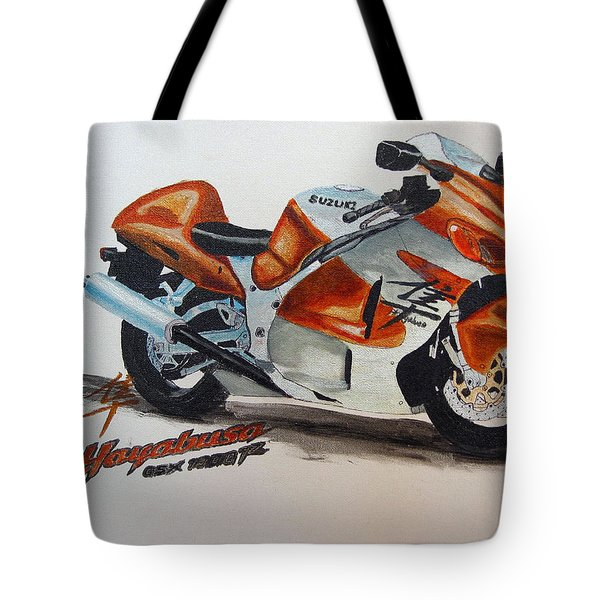 Tote Bag featuring the painting Suzuki Hayabusa by Richard Le Page