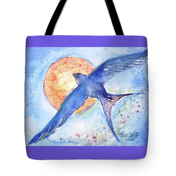 Tote Bag featuring the painting Swallows Return  by Trudi Doyle