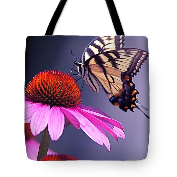 Tote Bag featuring the photograph Swallowtail And Coneflower by Byron Varvarigos