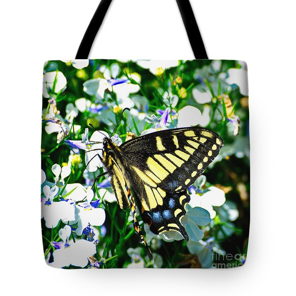 Swallowtail And Flowers Tote Bag