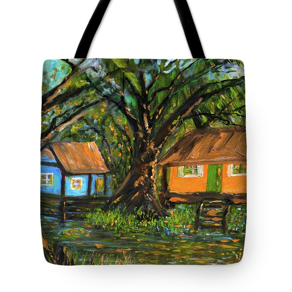 Swamp Cabins Tote Bag by Christy Usilton