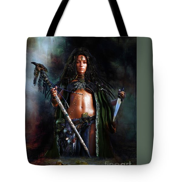 Tote Bag featuring the digital art Swamp Witch by Shanina Conway