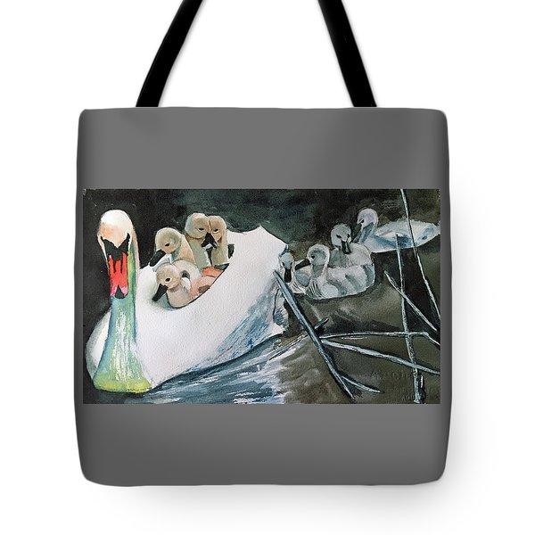 Swan And Cygnets Tote Bag