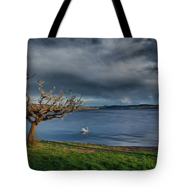Swan And Tree Tote Bag