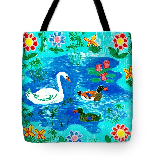 Swan And Two Ducks Tote Bag by Sushila Burgess