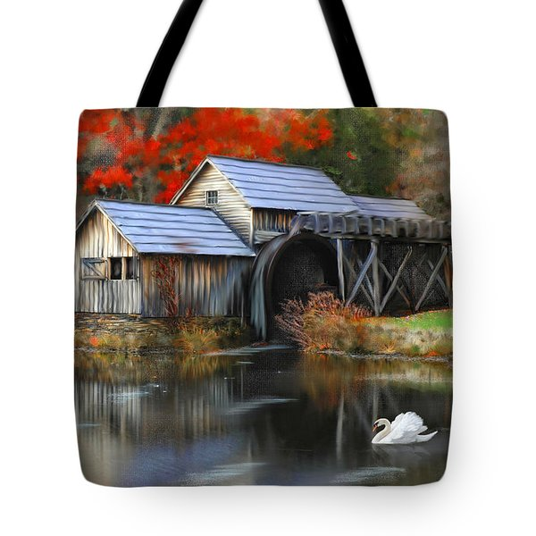 Swan At Mabry Mill Tote Bag by Mary Timman