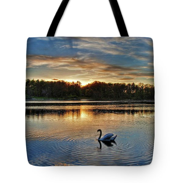 Tote Bag featuring the photograph Swan At Sunset by Wayne Marshall Chase