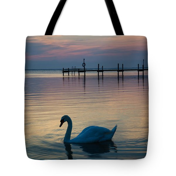 Swan At Twilight Reflections Tote Bag