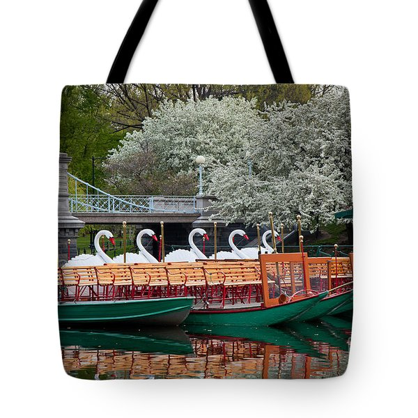 Swan Boat Spring Tote Bag by Susan Cole Kelly