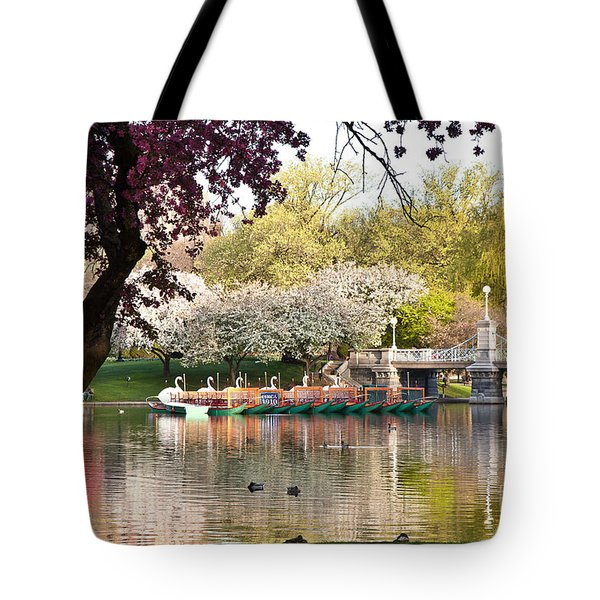 Swan Boats With Apple Blossoms Tote Bag