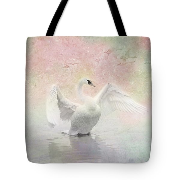 Tote Bag featuring the photograph Swan Dream - Display Spring Pastel Colors by Patti Deters