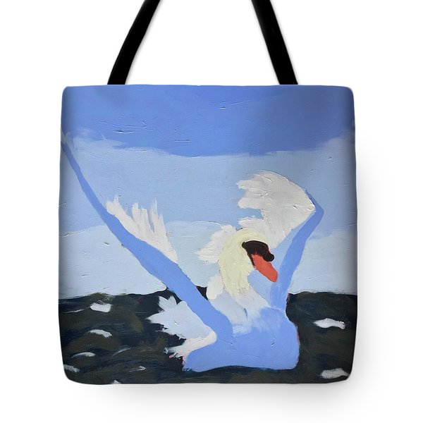 Tote Bag featuring the painting Swan by Donald J Ryker III