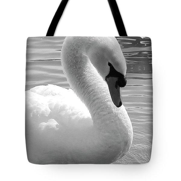 Swan Elegance Black And White Tote Bag