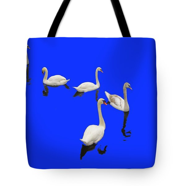 Swan Family On Blue Tote Bag