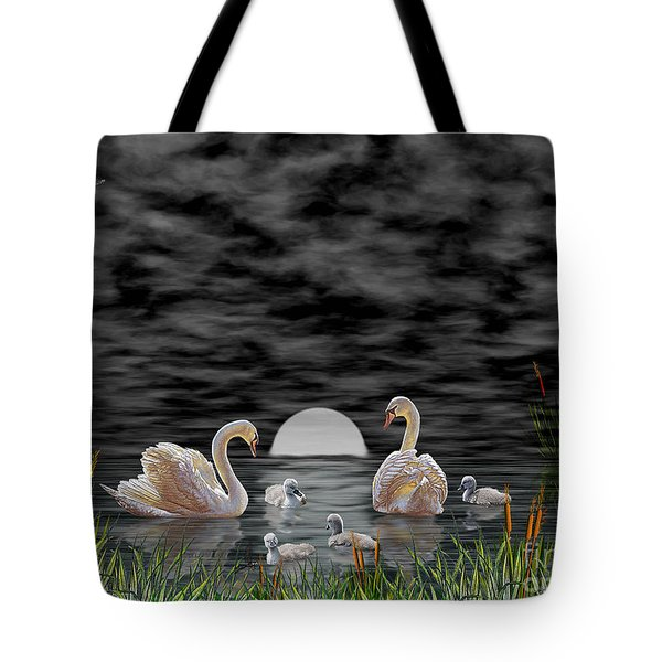 Swan Family Tote Bag by Terri Mills
