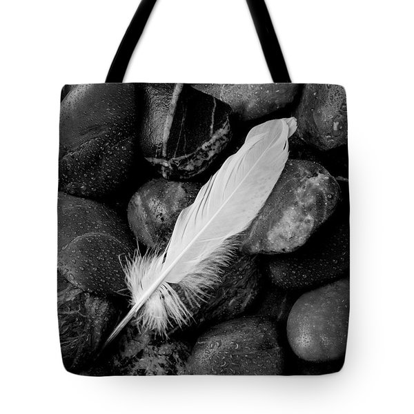 Swan Feather Black And White Tote Bag