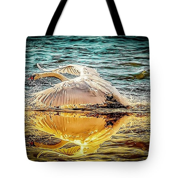 Tote Bag featuring the photograph Swan Flight  by Cliff Norton