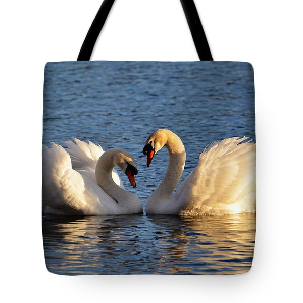Swan Heart Tote Bag by Mats Silvan