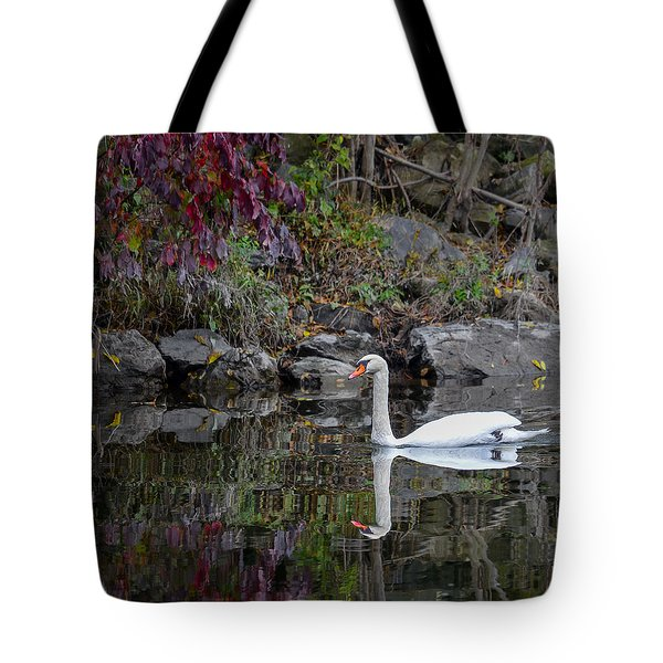 Swan In Autumn Reflections Tote Bag