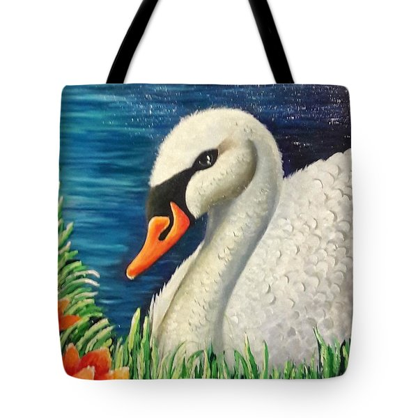 Swan In Pond Tote Bag