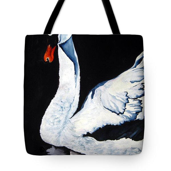 Swan In Shadows Tote Bag by Lil Taylor
