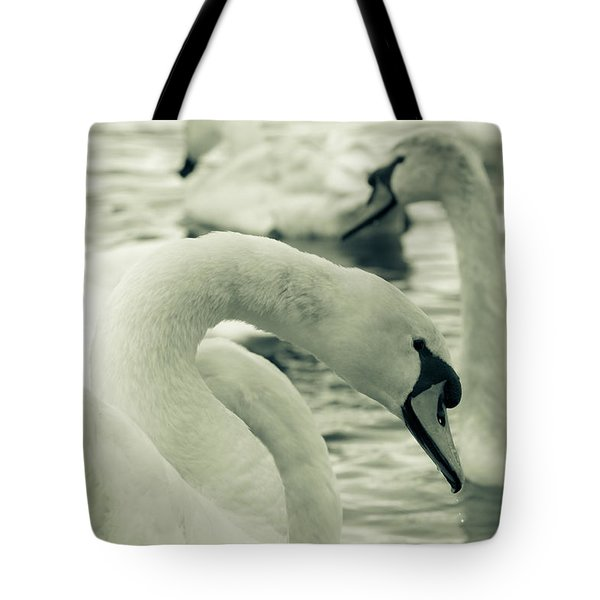 Swan In Water Tote Bag