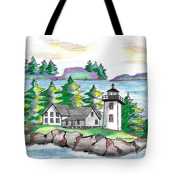 Swan Island Lighthouse Tote Bag